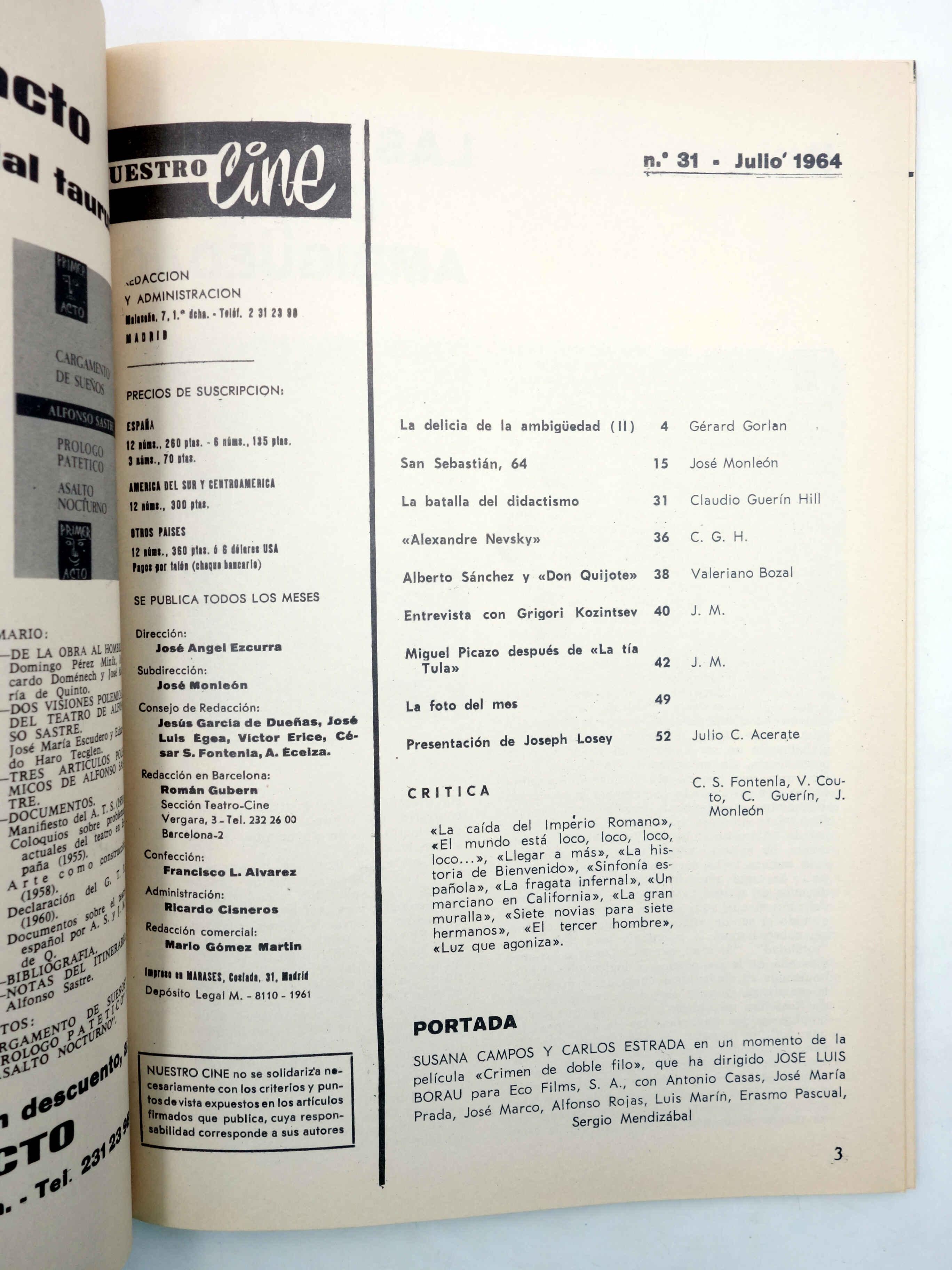 NUESTRO CINE. REVISTA CINEMATOGRÁFICA 31. SAN SEBASTIÁN 64