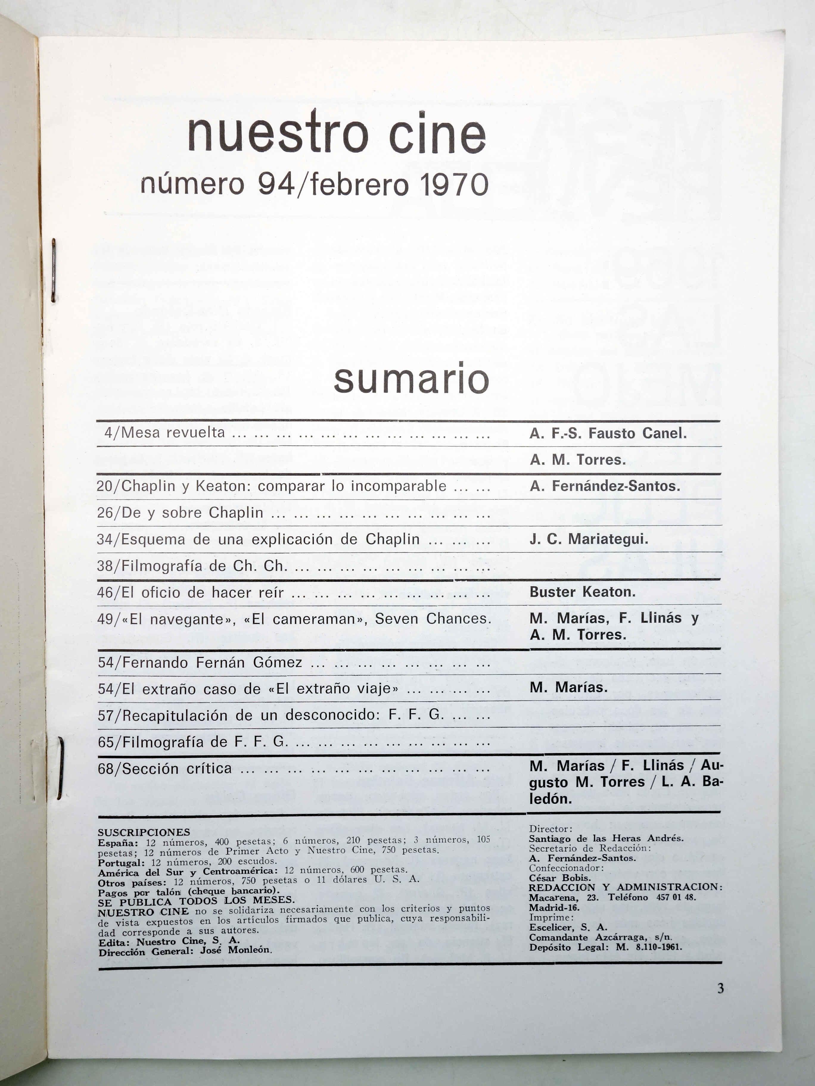 NUESTRO CINE. REVISTA CINEMATOGRÁFICA 94. KEATON, CHAPLIN, FERNÁN GÓMEZ