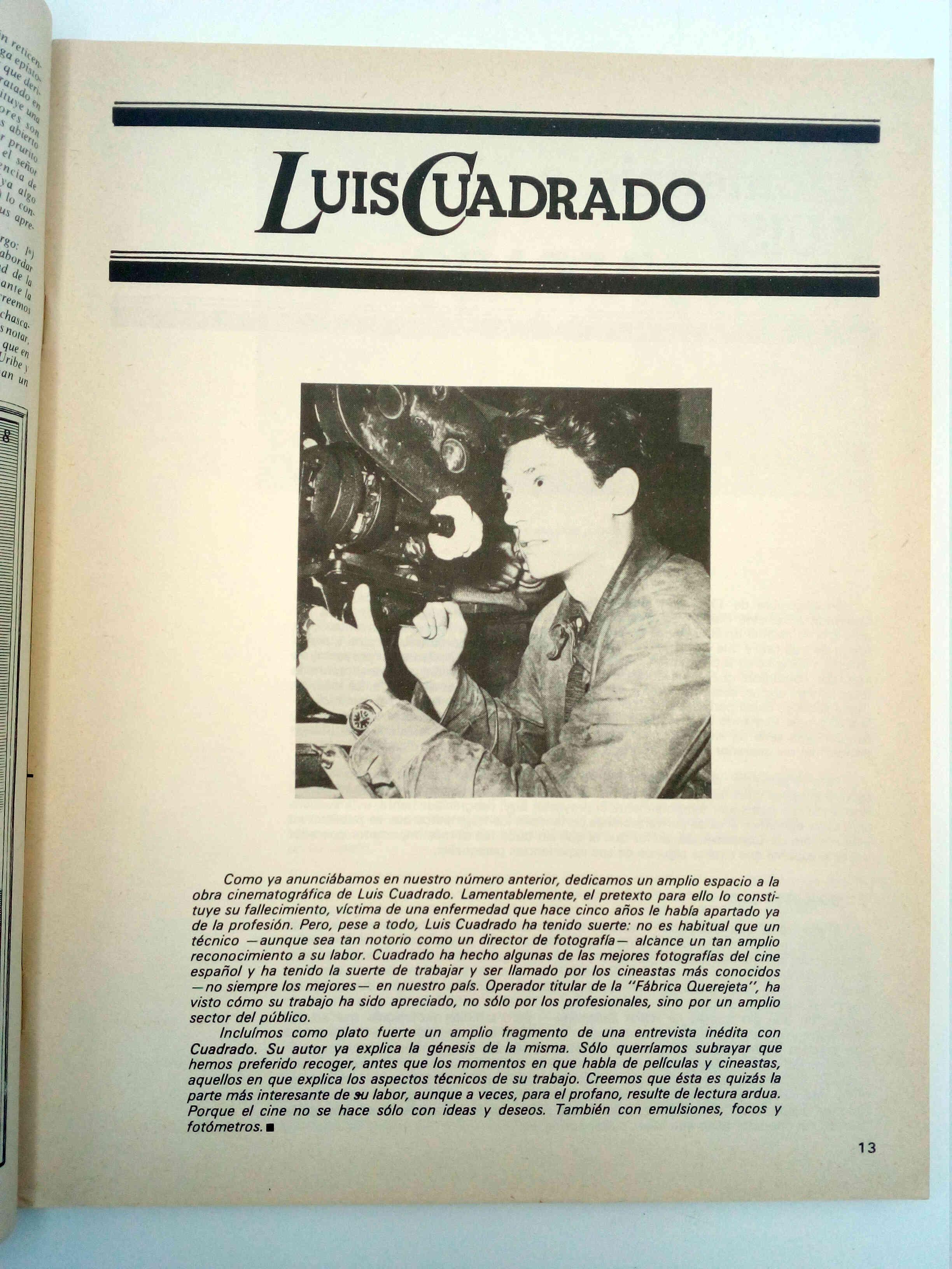 CONTRACAMPO REVISTA DE CINE EXTRA 10 11. BERTOLUCCI / LUÍS CUADRADO