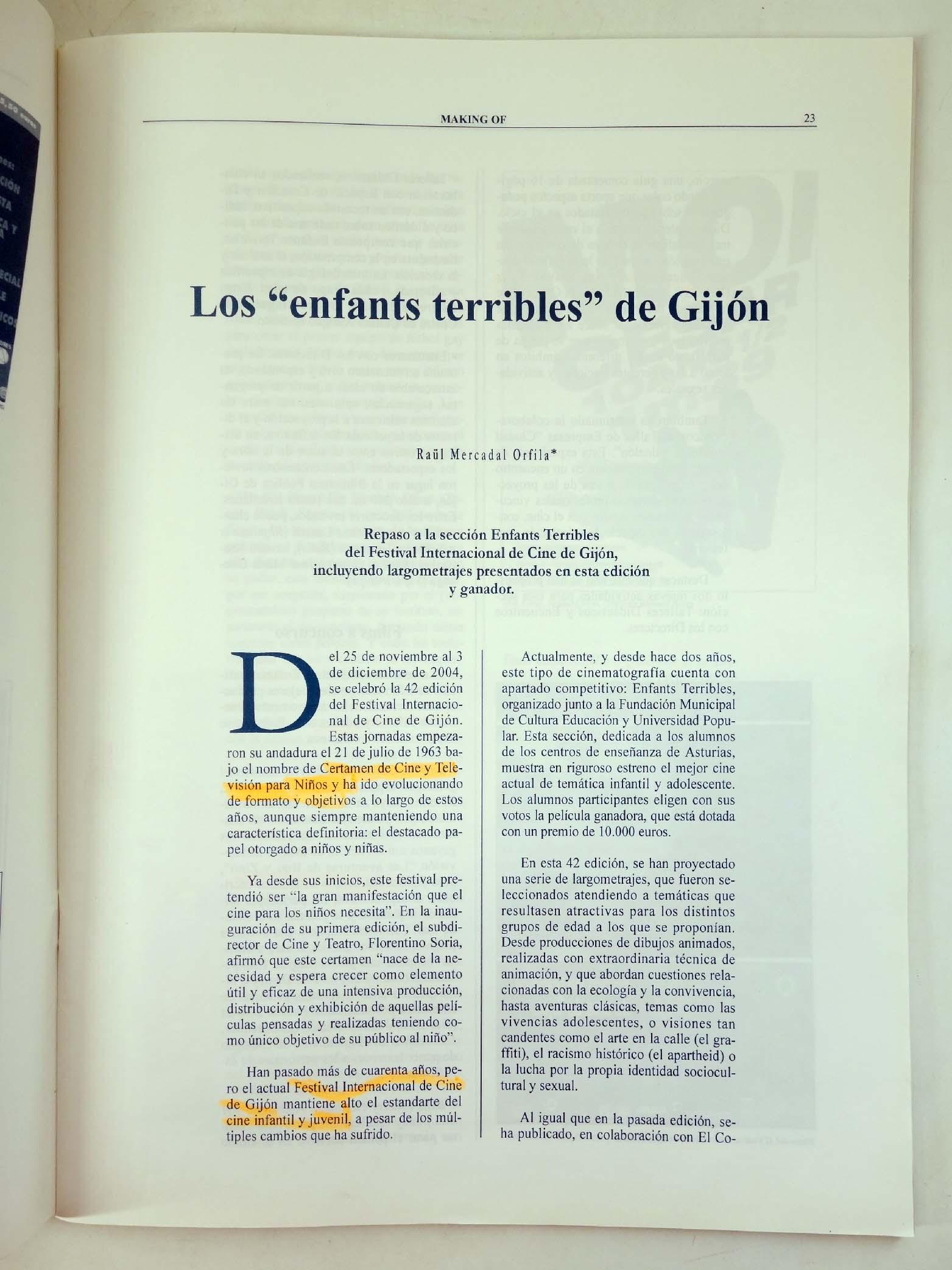 REVISTA MAKING OF, CUADERNOS DE CINE Y EDUCACIÓN 29