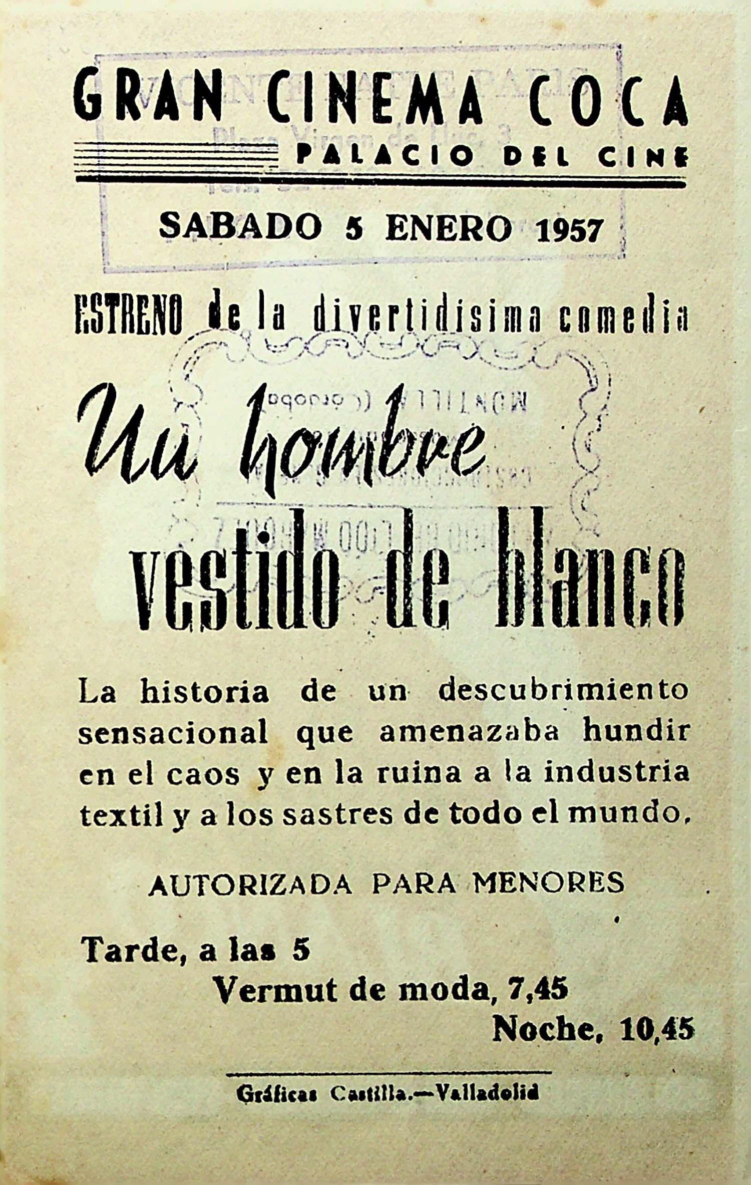 PROGRAMA DE MANO. EL HOMBRE VESTIDO DE BLANCO. Alec Guiness. CP
