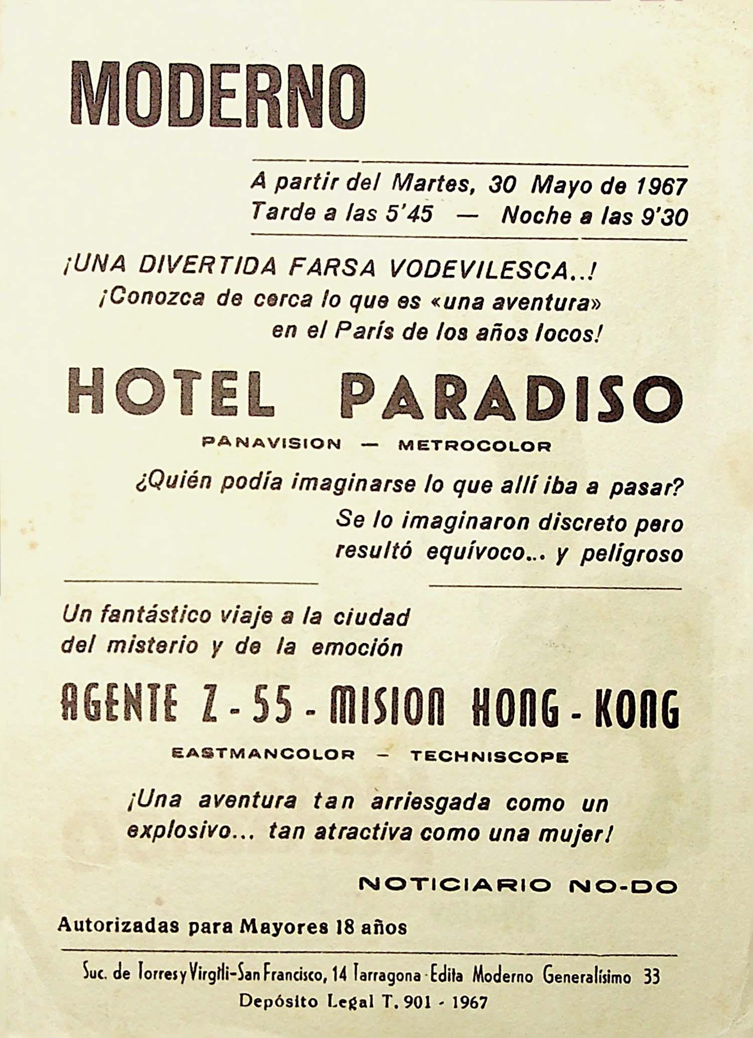 PROGRAMA DE MANO. HOTEL PARADISO. Alec Guiness Gina Lollobrigida. CP