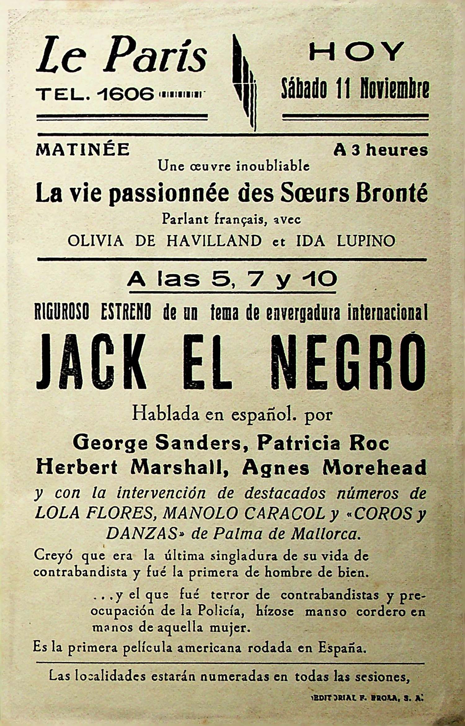 PROGRAMA DE MANO. JACK EL NEGRO – BLACK JACK. George Sanders. CP
