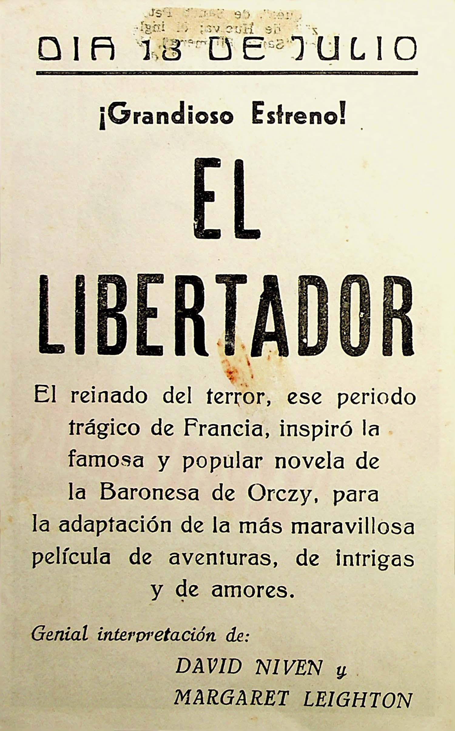 PROGRAMA DE MANO. EL LIBERTADOR. David Niven. CP