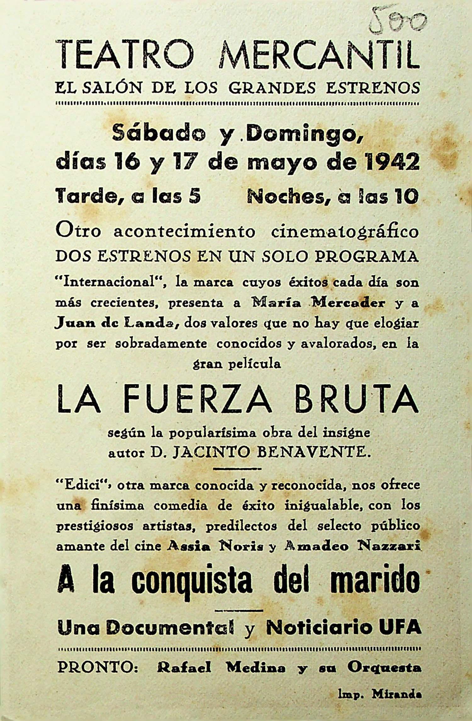 PROGRAMA DE MANO. A LA CONQUISTA DEL MARIDO. Assia Noris. CP