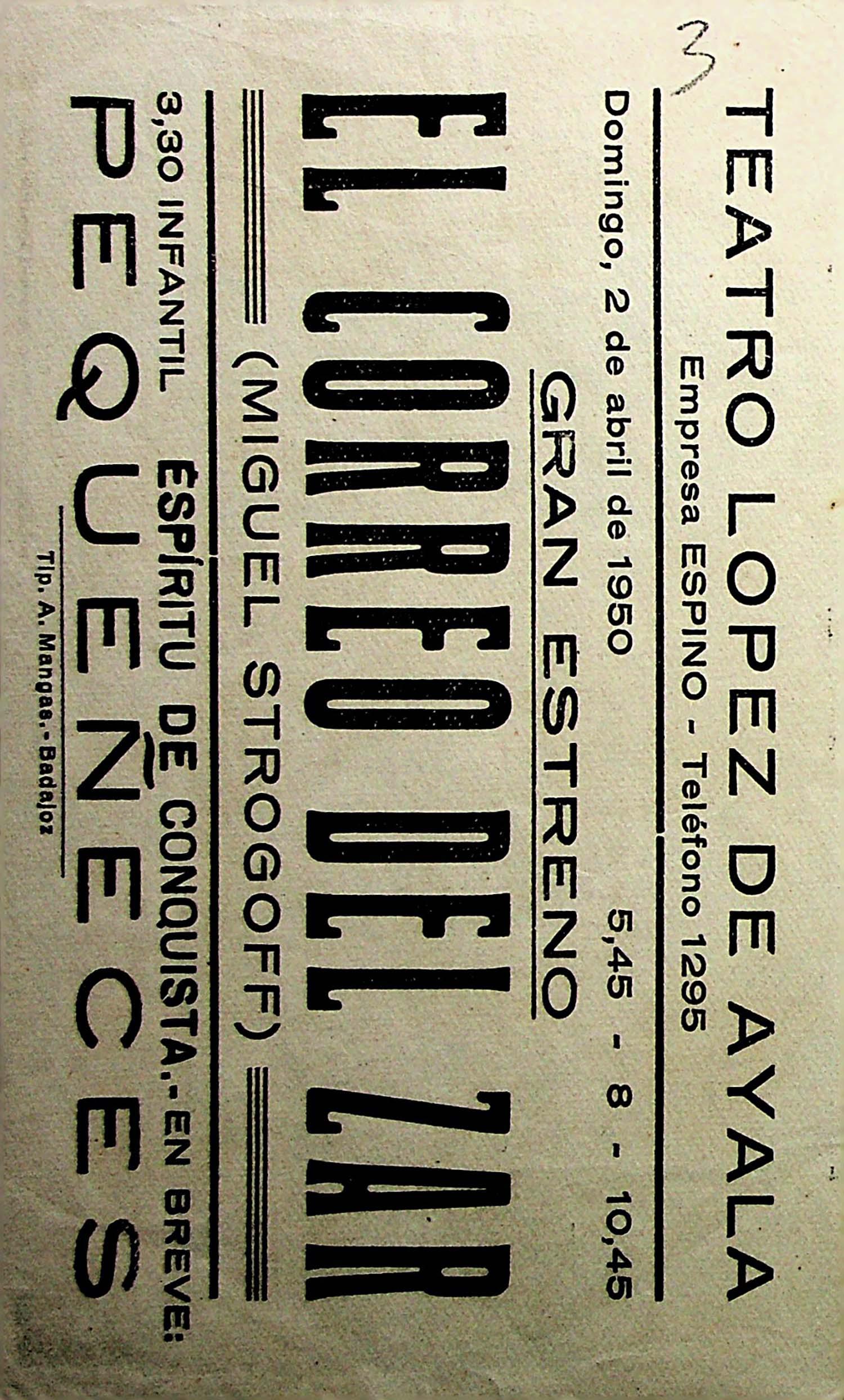 PROGRAMA DE MANO. EL CORREO DEL ZAR (MIGUEL STROGOFF). Julian Soler. CP